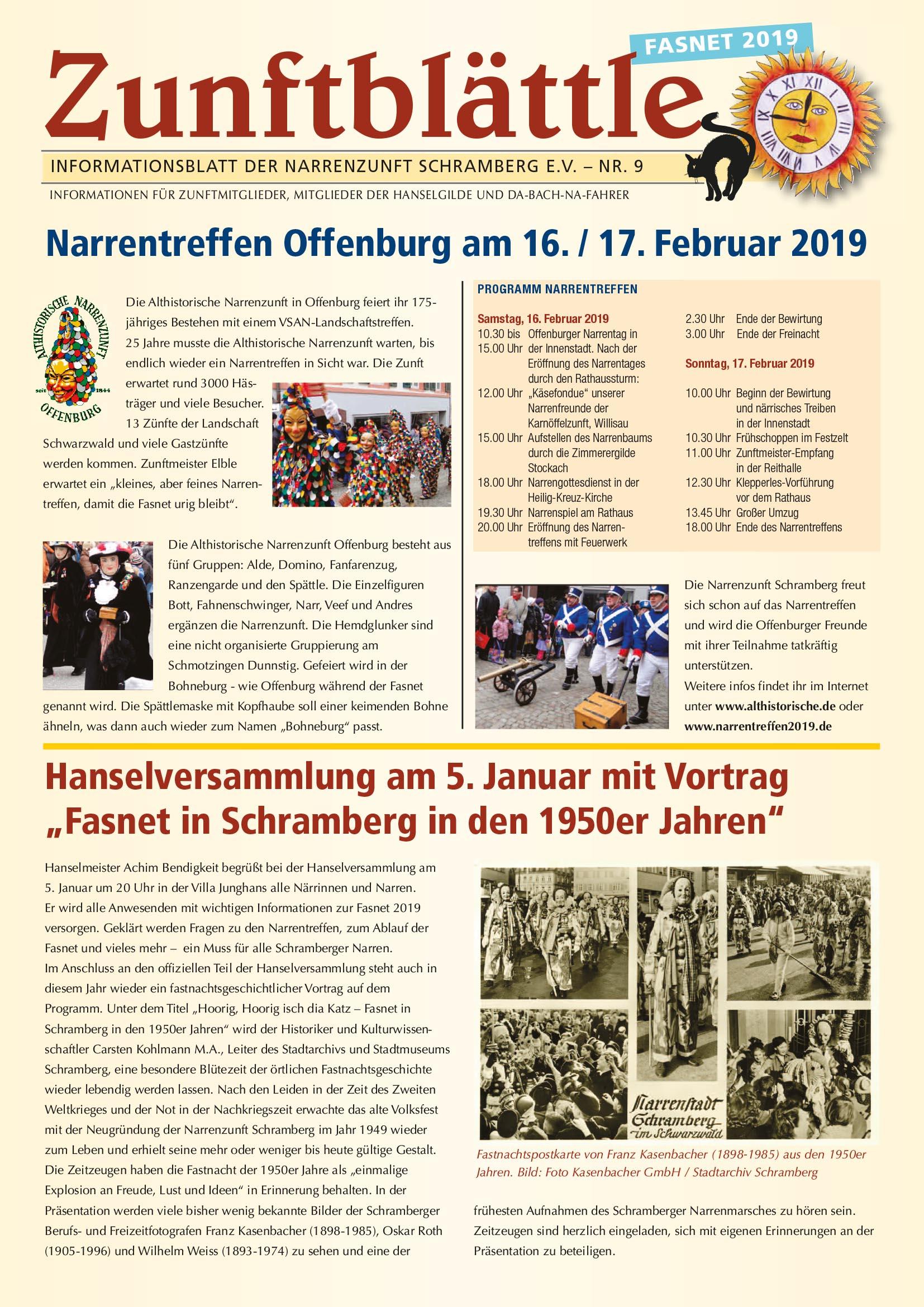 Zunftblättle Fasnet 2019